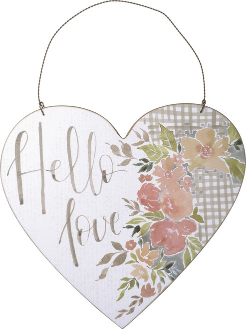 Hello Love Heart Shaped Floral Wood Hanging Décor 9 Inches