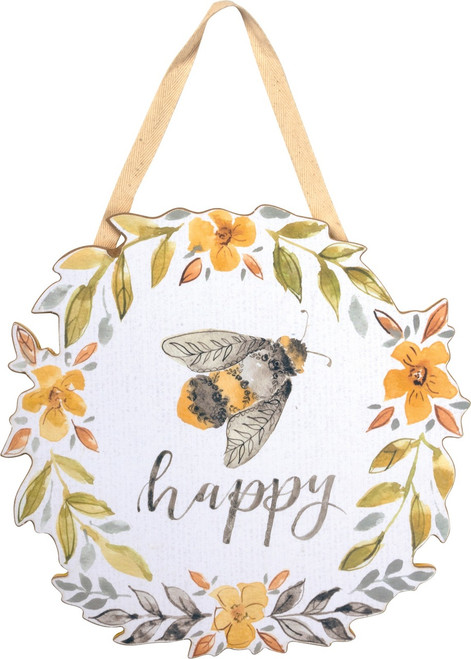 Bumble Bee Happy Yellow Floral Wreath Design Wall Décor 12 Inches Wood