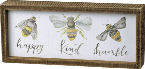 Happy Kind Humble Bees Inset Box Sign 10 Inches Wood