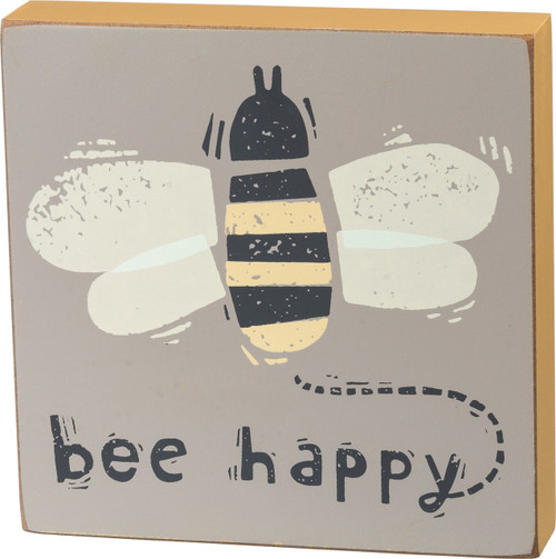 Bumble Bee Happy Block Sign 5 Inches Gray and Yellow