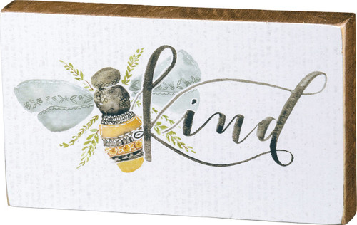Bumble Bee Kind Yellow and White Block Sign 6 Inches Wood