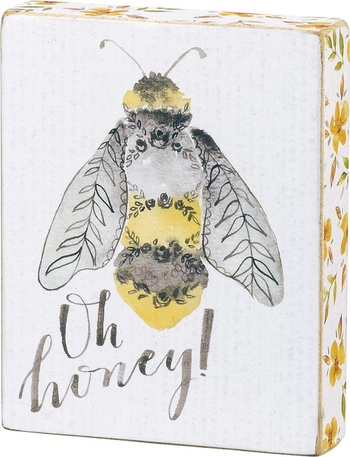 Oh Honey Bumblebee and Yellow Flowers Block Sign 5 Inches Wood