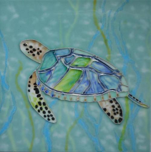 Sea Turtle Swimming in Seaweed Coastal 4X4 Inch Ceramic Tile