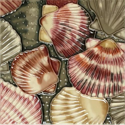 Coastal Scallop Seashells 8X8 Inch Ceramic Tile