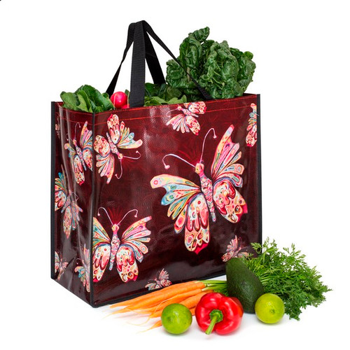 Allen Designs Red Butterfly Shopper Bag Tote