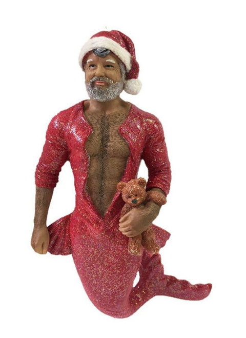 December Diamonds Bedtime Santa Merman with Bear Holiday Ornament