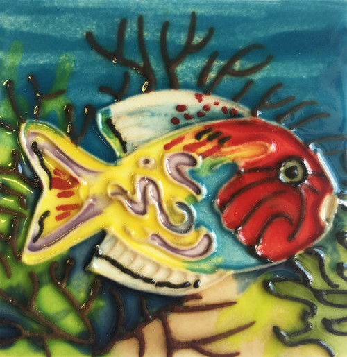 Tropical Fish Ceramic Tile 4 Inches Yellow and Orange