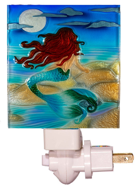 Mermaid Gazing at Moonlight Night Light Fused Glass Electric 7 Watt