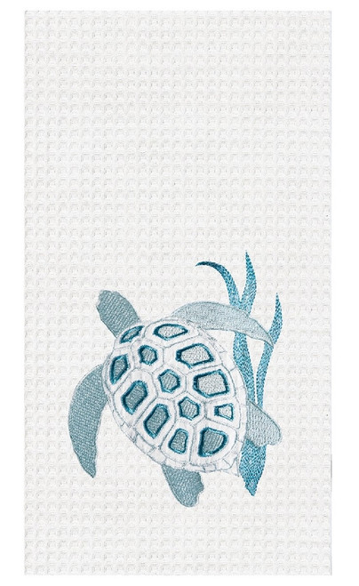 Sea Turtle and Coral Waffle Weave Embroidered Kitchen Dish Towel
