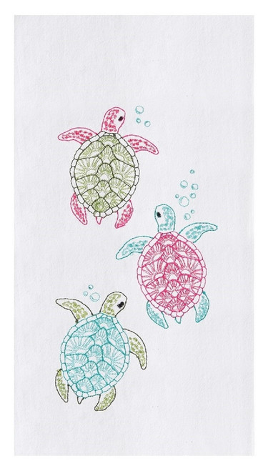 Baby Sea Turtles Swimming to Sea Embroidered Flour Sack Kitchen Dish Towel