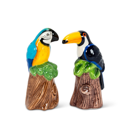 Toucan and Parrot Tropical Birds Salt and Pepper Shaker Set Ceramic
