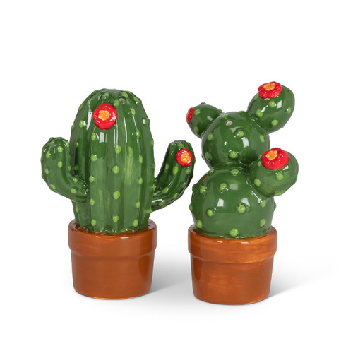 Blooming Prickly Cactus Salt and Pepper Shakers Set Ceramic
