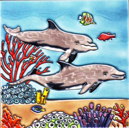 Dolphins Swimming in Deep Sea Paradise Ceramic Tile 8 Inches