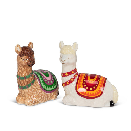 Llamas Resting Salt and Pepper Shaker Set Ceramic Brown and White