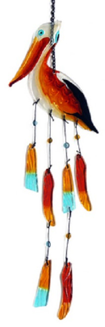 Pelican Coastal Bird Wind Chimes Fused Glass 27 Inches