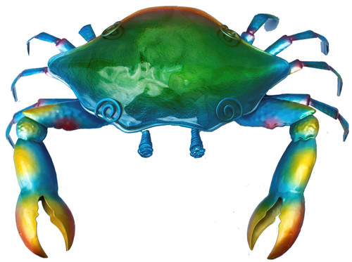 Blue Crab Table Light Electric 7 Watt Painted Metal and Glass