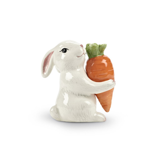 Bunny Hugging A Carrot Salt and Pepper Shaker Set Ceramic