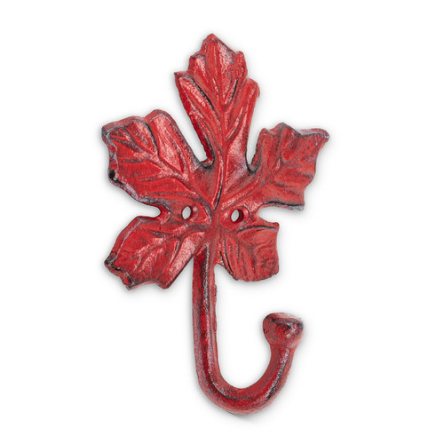 Red Maple Leaf Single Wall Hook Cast Iron