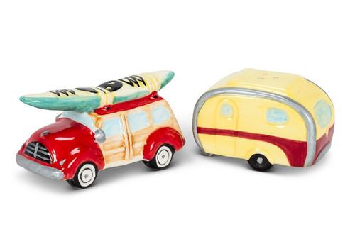 Woody Car and Camper Salt and Pepper Ceramic
