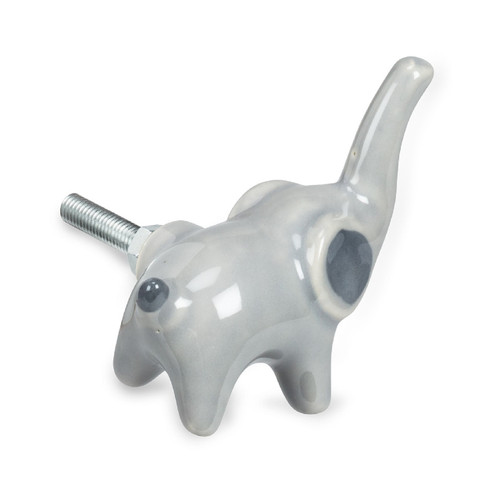 Grey Elephant Shaped Drawer Pull Knob Ceramic