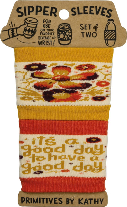 Have A Good Day Sipper Sleeves Travel Cup or Water Bottle Cozy Covers Set of 2