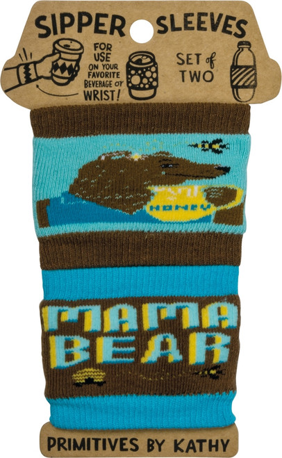 Mama Bear Sipper Sleeves Travel Cup or Water Bottle Cozy Covers Set of 2