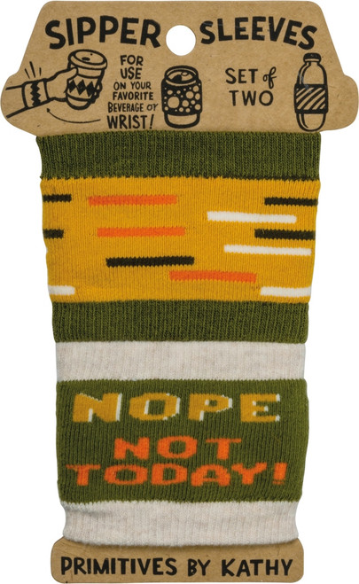 Nope Not Today Sipper Sleeves Travel Cup or Water Bottle Cozy Covers Set of 2