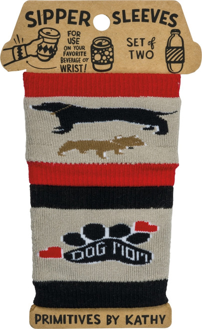 Dog Mom Sipper Sleeves Travel Cup or Water Bottle Cozy Covers Set of 2