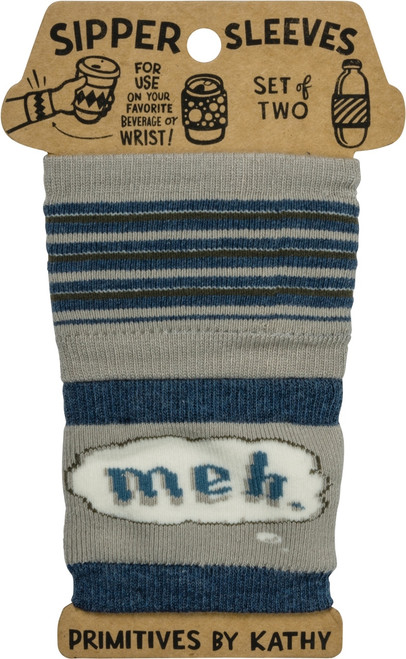 Meh Sipper Sleeves Travel Cup or Water Bottle Cozy Covers Set of 2