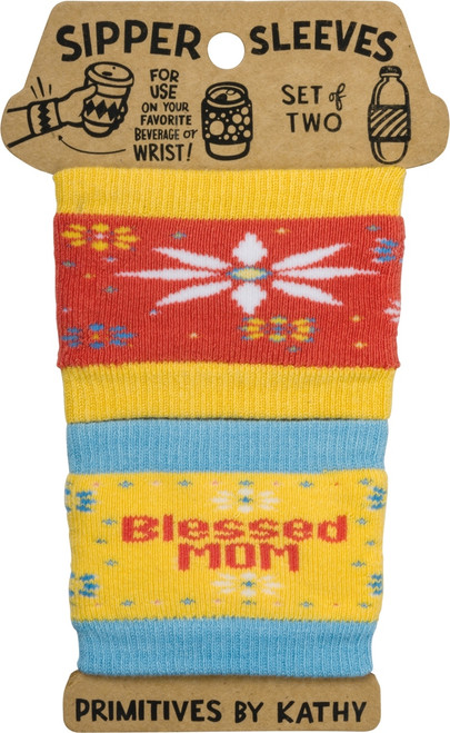 Blessed Mom Sipper Sleeves Travel Cup or Water Bottle Cozy Covers Set of 2