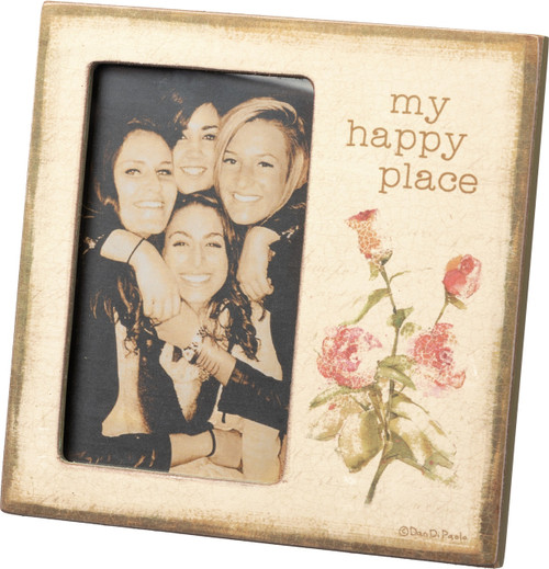 Primitives by Kathy My Happy Place Plaque Photo Frame 3X5 Inch Photo
