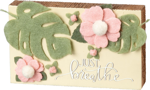 Just Breathe Wood and Fabric Block Sign 5 Inches