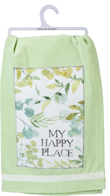 Primitives by Kathy My Happy Place Green Botanicals Kitchen Dish Towel