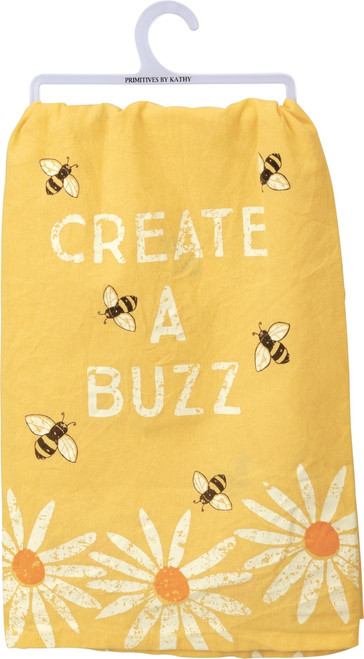 Primitives by Kathy Create A Buzz Honey Bees Yellow Kitchen Dish Towel
