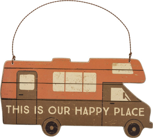 Primitives by Kathy This is Our Happy Place RV Hanging Wall Decor 7.5 Inches