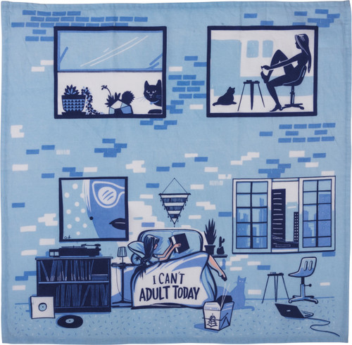 Primitives by Kathy I Cant Adult Blue Kitchen Dish Towel Cotton