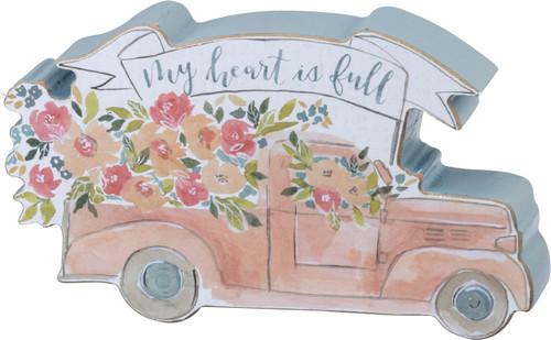 Primitives by Kathy My Heart is Full Pickup Truck Chunky Shelf Sitter