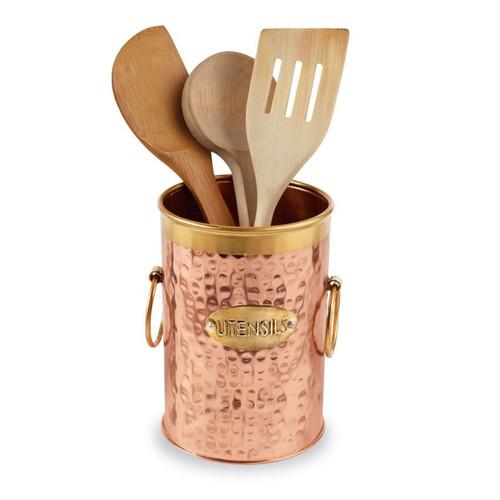 Mud Pie Utensil Caddy Kitchen Decor Copper and Brass 6.5 Inches