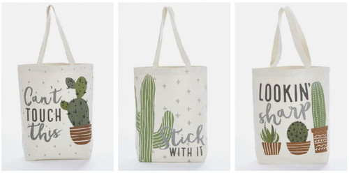 Mud Pie Lookin Sharp Stick With It Cant Touch Cactus Canvas Tote Bags Set of 3
