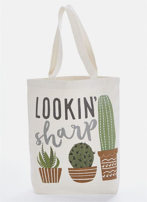 Mud Pie Looking Sharp Cactus Tote Bag Canvas 14.5 Inches