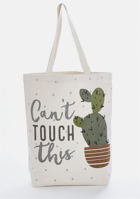 Mud Pie Can't Touch This Cactus Canvas Tote Bag 14.5 Inches