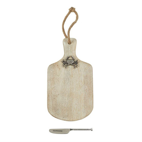 Mud Pie Clawsome Crab Cheese Paddle Board and Spreader Set Mango Wood