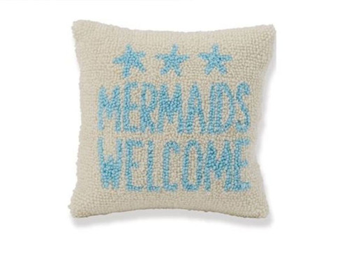 Mud Pie Mermaids Welcome Hooked Accent Throw Pillow 8 Inches Blue and White