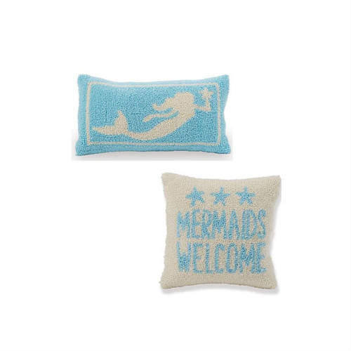 Mud Pie Mermaids Welcome and Swimming Mermaid Hook Accent Throw Pillows Set of 2