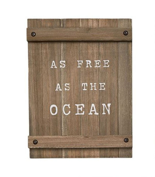 Mud Pie As Free As the Ocean Planked Wood Sea Wall Plaque 8 Inches