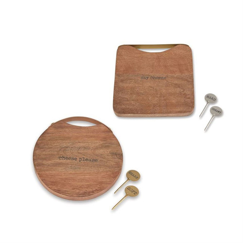 Mud Pie Say Cheese Please Boards and Markers Mango Wood Set of 2