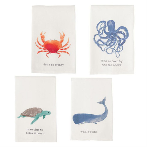 Mud Pie Nautical Crab Whale Octopus Sea Turtle Kitchen Dish Towels Set of 4
