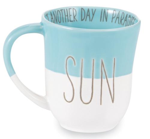 Mud Pie Sun Beach Mug Blue White Coffee Tea Mug