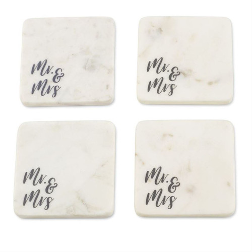 Mud Pie Bridal Mr and Mrs Drink Coasters White Marble Set of 4
