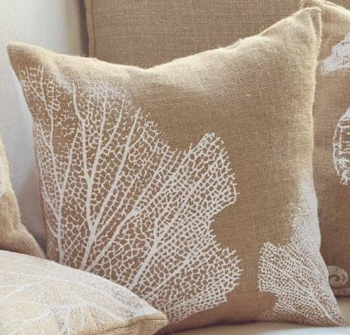 Mud Pie Sea Coral Printed Burlap Accent Throw Pillow 13.5 Inches